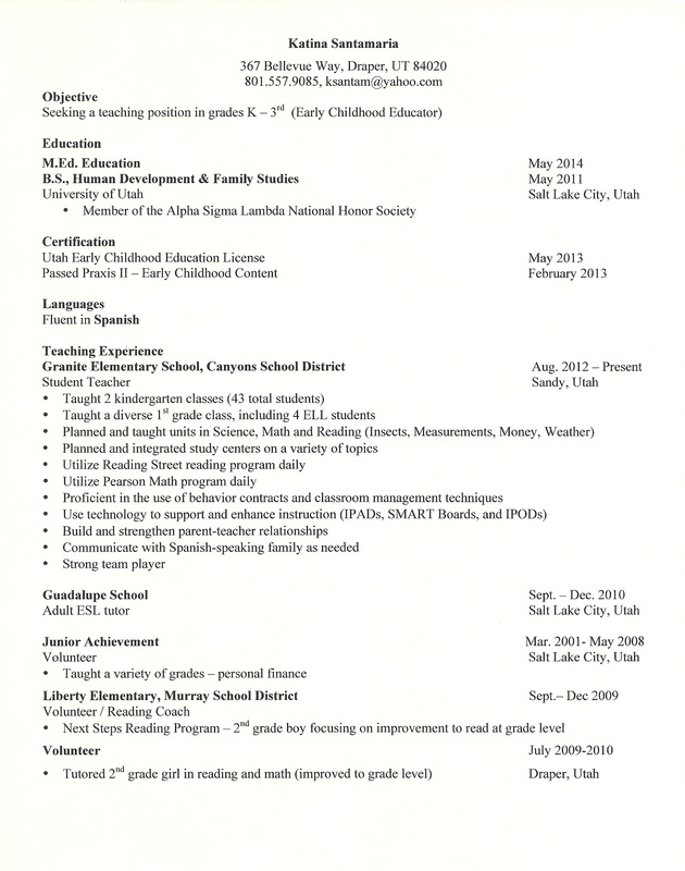 1st grade teacher resume